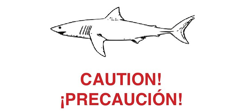 Portion of shark warning sign