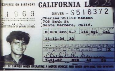 A 1967 driver's license belonging to Charles Willie Manson