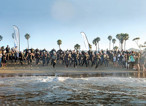 The swimming start of the 2011 Santa Barbara Triathlon.