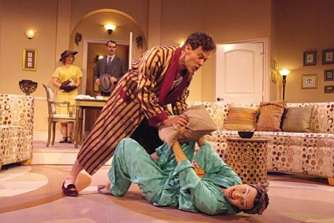 Joseph Fuqua and Julie Granata have at it in <i>Private Lives</i> as Alyson Lindsay and Matthew Floyd Miller look on.
