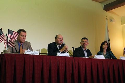 From left to right: Robin Walter, Mike Stoker, Abel Maldonado, and Elizabeth Emken