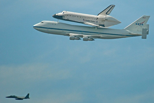 Space shuttle Endeavour passes over Vandenberg Air Force Base Friday morning (Sept. 21, 2012)