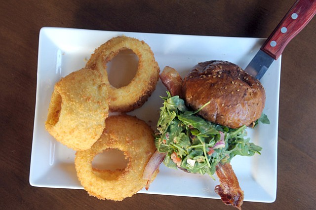 The Fig Marmalade Burger and some serious onion rings.