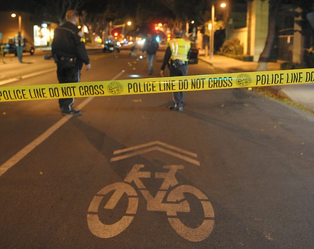 Two blocks of South Milpas Street are closed as police investigate a car vs. bike accident (Oct. 23, 2012)