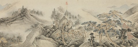 """Shen Shichong, """"Landscape"""" (detail), 1631. Handscroll ink and color on paper. Private collection."""