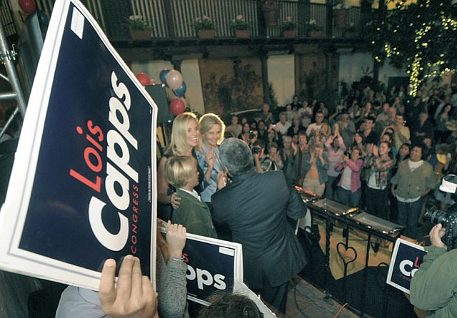 Lois Capps celebrates with family and supporters at El Paeso (Nov. 6, 2012)