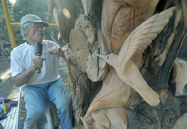 "Larry Lefner works on ""Humingbird Heaven""."