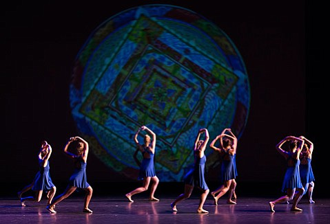 "Projections also featured in ""Sight of Hand,"" a work for nine dancers created by department faculty members Valerie Huston and Jerry Pearson."