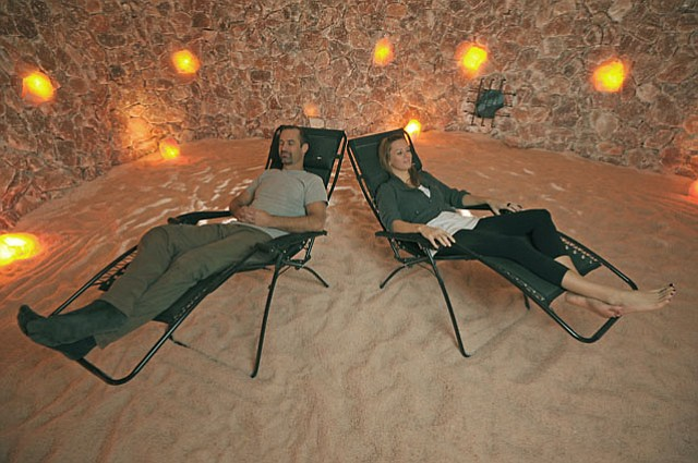 Salt Cave's Massage Therapist Steve Graves and Assistant Manager Sara Gibson. (Dec. 21, 2012).