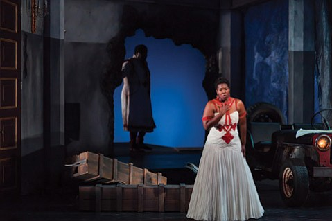 Michelle Johnson in the title role of the Glimmerglass Festival production of <i>Aida</i>.