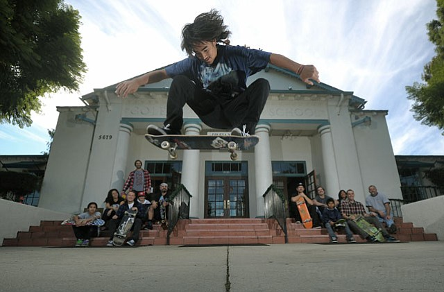 Micaiah Furukawa nails a big-air ollie in front of the Goleta Valley Community Center.