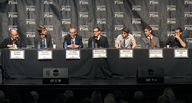 SBIFF 2013 Directors Panel (L to R) moderator Peter Bart, directors Tom Hooper, Rich Moore and David O. Russell Behn Zeitlin, Malik Bendjelloul, and Mark Andrews.