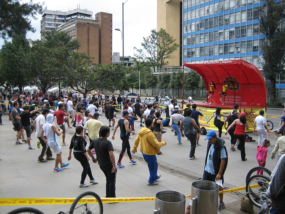 Group dancing on a Sunday, the day of each week when the people take back the streets from the cars, because the city is given over to ciclovia.