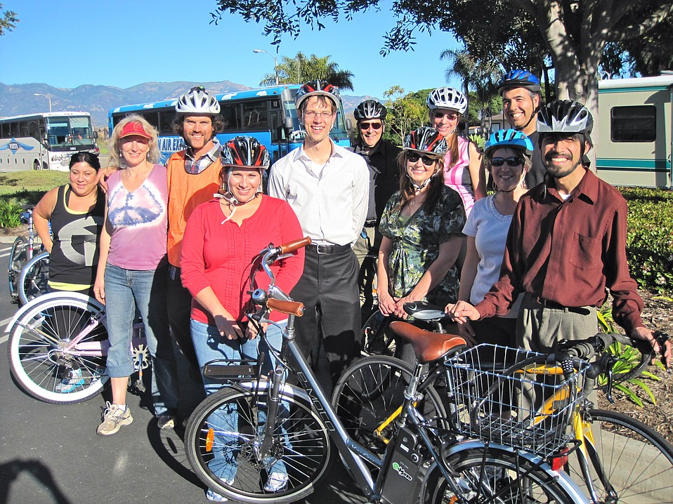 """City of Goleta staffers after a Street Skills class. The City of Goleta purchased a fleet of bicycles, and MaryJo Alonzo, who is promoting employees' use of bikes for short errands and exercise, said the class was """"informative and fun! The City will offer it again in the future."""""""