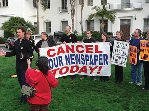 FROM LEFT:  Tom Schultz, Dawn Hobbs, Teamsters organizer George Perez, Barney McManigal, Rob Kuznia, Anna Davison, Melinda Burns, John Zant, and Melissa Evans rally for the right to organize the Santa Barbara <i>News-Press</i> newsroom.