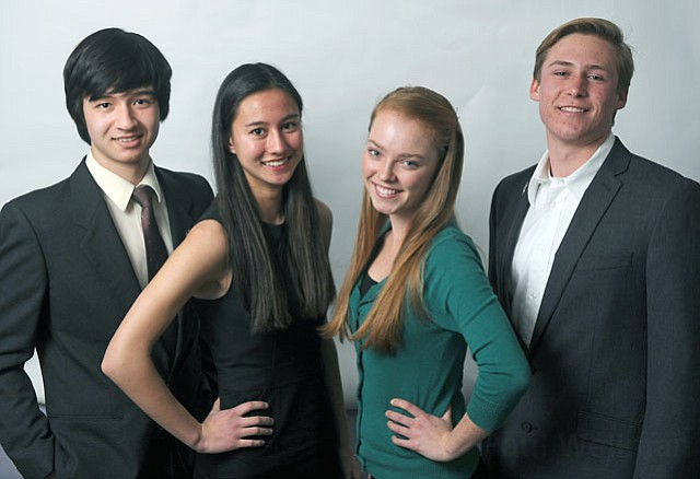 Student stem-cell researchers (from left) Robert Sumner, Léa Tran-Le, Madeline Matthys, and Ben Haslund-Gourley.
