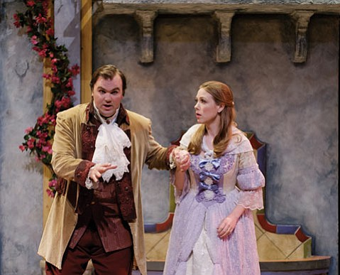 <b>WINS THE HAND:</b>  Count Almaviva (Bryan Lane) secures the hand of his beloved Rosina (Helena von Rueden) in Rossini's classic comedy.