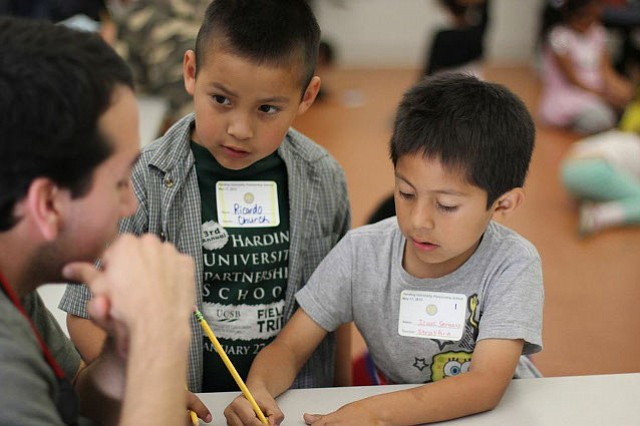 Harding students Ricardo and Isaac during their field trip to UCSB organized by the Gevirtz Graduate School of Education