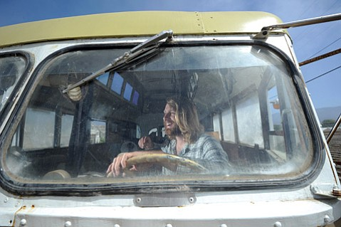 Ryan Lovelace in the bus he's working on.
