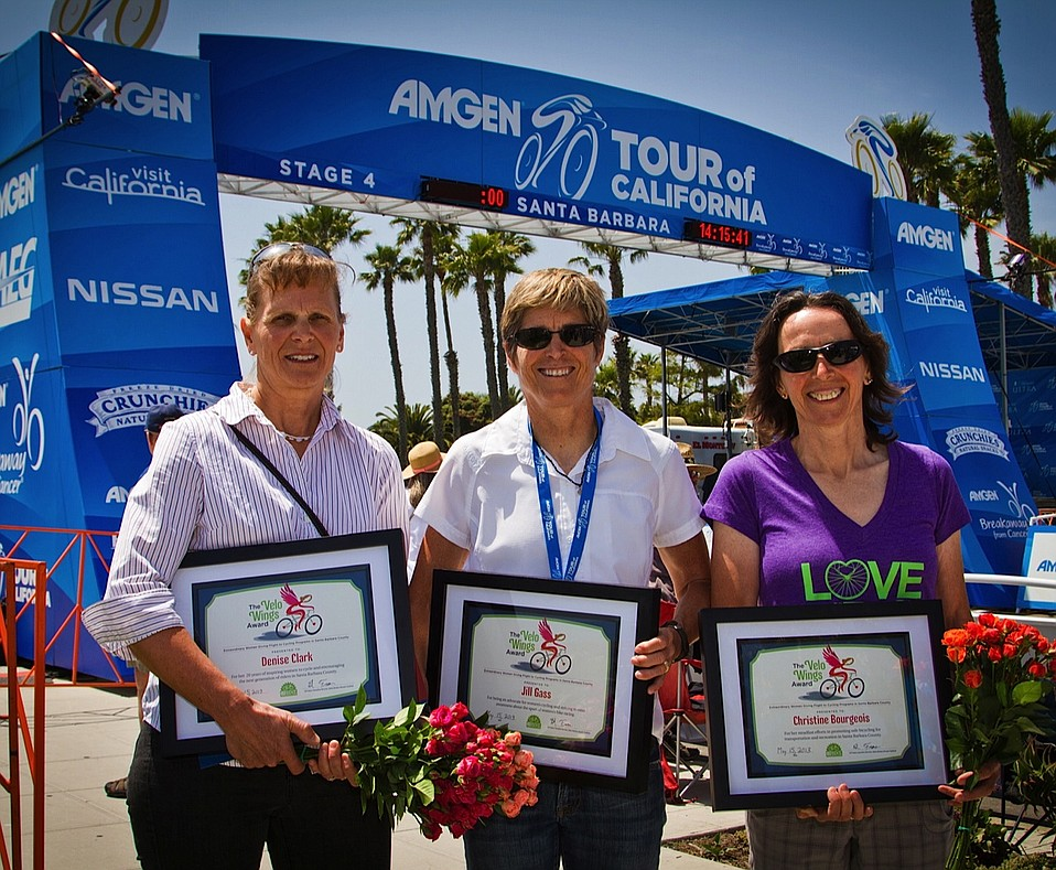 2013 Velo Wings Award Winners (left to right): Jill Gass, Denise Clark, and Christine Bourgeois.