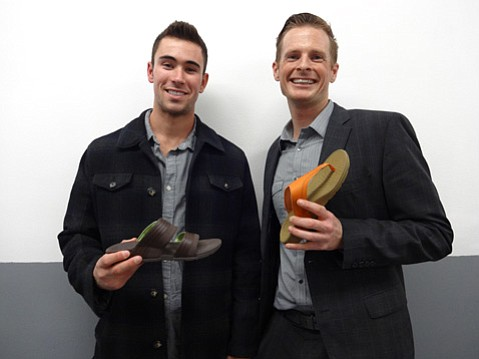 <b>FANCY FOOTWORK:</b> Heeluxe researcher Rob LaRue (left) and company founder Geoffrey Gray focus on footwear based on biomechanics.