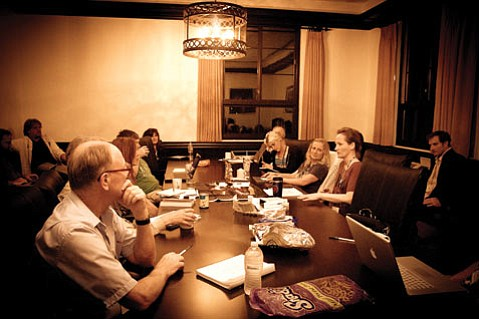 <b>NIGHT OWLS:</b> Writers burn the midnight oil at a 2012 late-night pirate workshop led by Lorelei Armstrong.