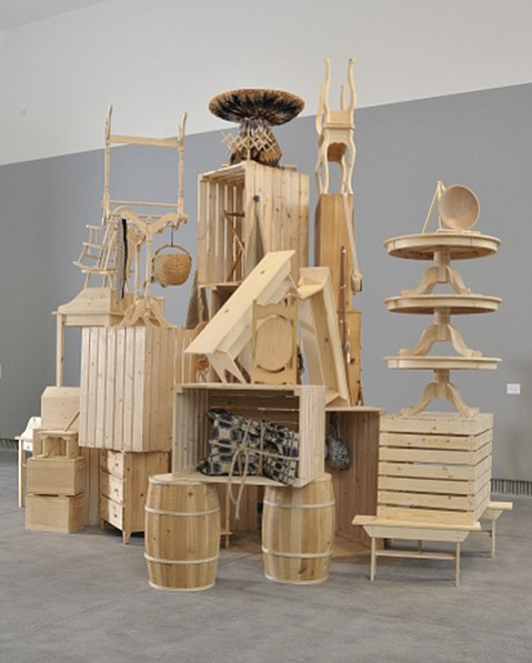 """<b>CAKE-STAND ART:</b>  """"Stockpile,"""" by Allison Smith, will be one of the pieces in the Santa Barbara Museum of Art's Labour and Wait exhibition."""