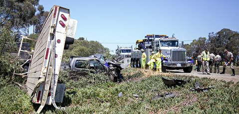 Aftermath of fatal head-on collision on Highway 101