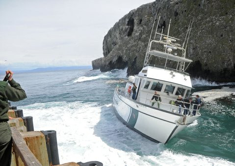 The Sea Ranger II lists next to the Anacapa Island dock (March 2013)
