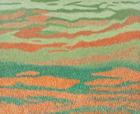 """<b>BLURRED LINES:</b> In """"Great Plains,"""" Kenneth Ober uses thousands of small lines to create a single big image."""