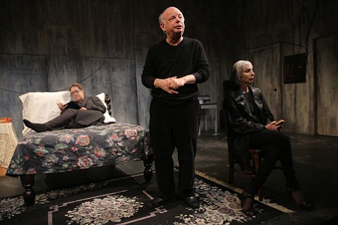 <b>STRANGE SPACES:</b>  Larry Pine, Wallace Shawn, and Deborah Eisenberg are in The Designated Mourner. Genesis West will bring Shawn's play to the McDermott-Crockett & Associates Mortuary this November.