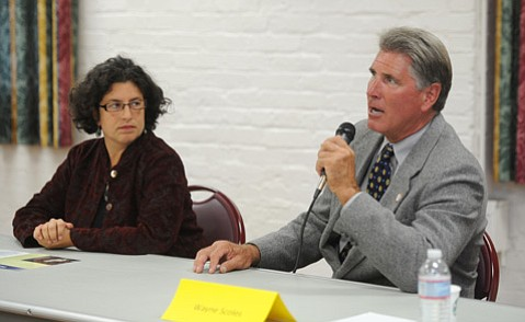 <b>GOOD TURNOUT:</b>  Mayor Helene Schneider and challenger Wayne Scoles were happily bowled over when 140 high school students showed up to a mayoral forum Monday night.