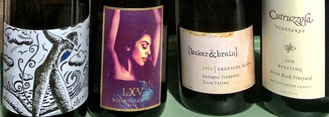 <b>LOOKOUT FOR LABELS:</b>  Just four of the more than 65 small-batch wineries attending this year's Garagiste Fest are, from left, Dilécta, LXV, {baker & brain}, and Cutruzzola.