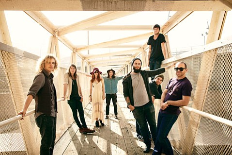 <b>CROWDED HOUSE:</b> The Mowgli's are (from left) Michael Vincze, Spencer Trent, Katie Jayne Earl, Josh Hogan, Matthew Di Panni, Colin Louis Dieden, Andy Warren, and Dave Appelbaum.
