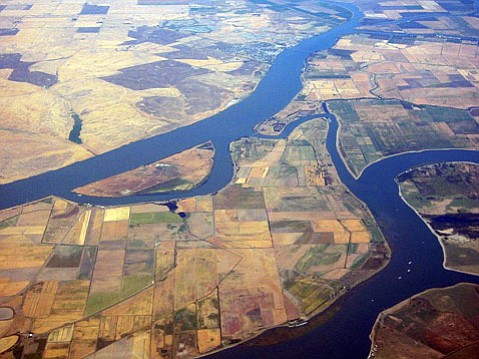 The state's Twin Tunnels water project proposes to further drain water from the Sacramento/San Joaquin Delta (above) to feed dry SoCal. Opponents point out that the water supply for the tunnels is already claimed.