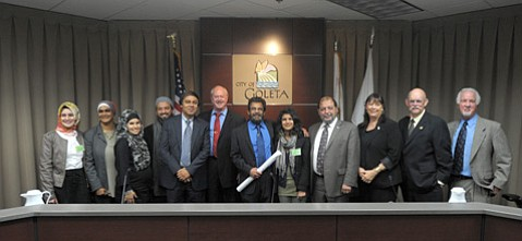 <b>LOTS OF LOVE:</b>  It was a celebratory night for attendees and councilmembers alike on Tuesday, as the Goleta City Council approved the Islamic Society of Santa Barbara's long-awaited community center.