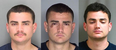 Cameron Hadighi, whose mugshots are pictured above, has been arrested over and over for auto burglary in recent years.