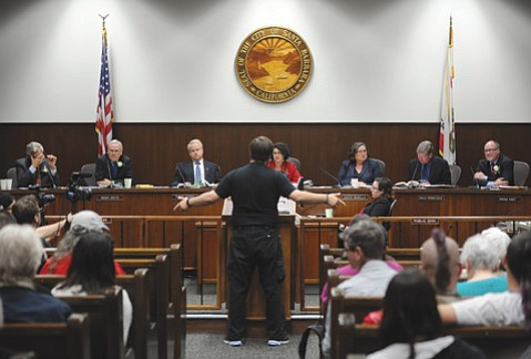 <b>CITY HALL SOLILOQUY:</b> Brandon Morse, an activist Republican, took 18 minutes to say a gang injunction would depress property values, kill business on State Street, and chase tourists away from Santa Barbara.