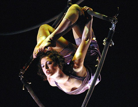 <b>ABOVE IT:</b> Santa Barbara Centre for Aerial Arts instructor Chelsea O'Brian contorts herself on the Aerial Kite.
