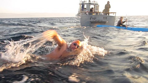 <b>OCEAN CROSSING:</b>  The subject of the documentary Driven, marathon swimmer Evan Morrison (pictured) traversed the 19 miles from Santa Cruz Island to Oxnard in record time in 2012.