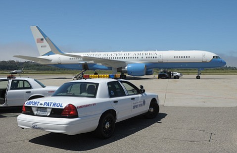 <b>GROUNDED:</b>  Vice President Joe Biden's Air Force Two hit a bird when it landed at Santa Barbara Airport in 2012.