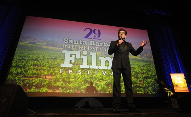 Roger Durling welcomes the crowd to 2014 SBIFF Opening Night featuring the movie Mission Blue.