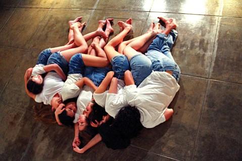 <b>AWKWARD MOMENTS:</b> Teen actors Stephanie McPhee, Ruby Haber, Katya Tashma-Rapp, Lily Linz, Shuba Brady, Eva Enriquez, and Skylar Rousseau star in Proximity Theatre's Teen Age.