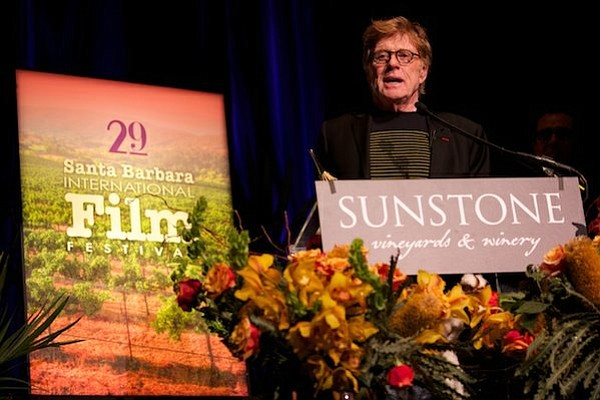 Robert Redford accepting the SBIFF American Riviera Award