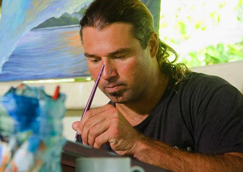 <b>TELLING STORIES: </b> After illustrating hundreds of T-shirts, trunks, and posters for the surf industry, Robert Heeley's art evolved during years spent painting on-site, living simply, and telling the story of the places he'd been, according to his Facebook page.