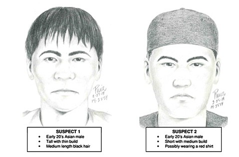 Campus police on Thursday released these sketches of the rape suspects, described as Asian males in their early 20s