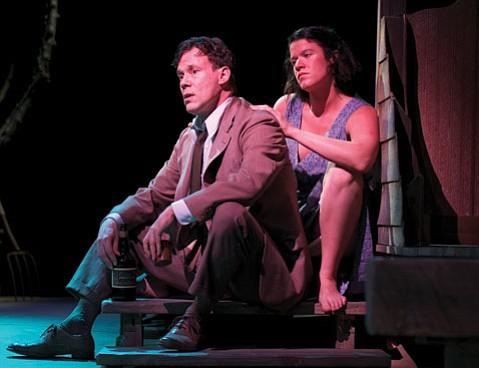 <b>MOODY BLUES:</b>  Joseph Fuqua (left) plays the hard drinking James Tyrone Jr. in Eugene O'Neill's 1943 drama, <i>A Moon for the Misbegotten</i>. Rebekah Tripp (right) costars as the feisty Josie.