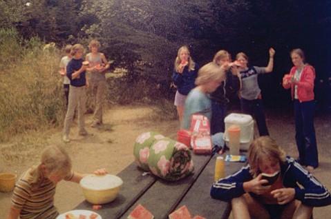 Teens at Bass Lake for Bible camp, circa 1978.