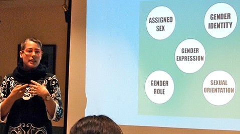By the end of May, 800 Central Coast emergency medicine professionals will be trained in Transgender Competent Care. Author Max Rorty is pictured teaching one such seminar.