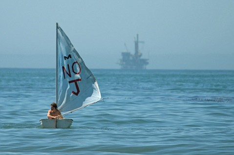 <b>NOT GONE, NOT FORGOTTEN:</b>  A protester sailed in opposition to Venoco's Paredon project in 2010.